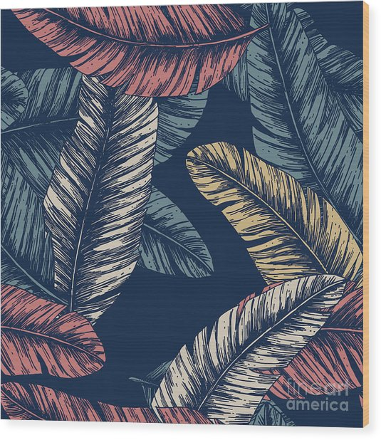 Tropical Palm Leaves. Seamless Pattern Wood Print