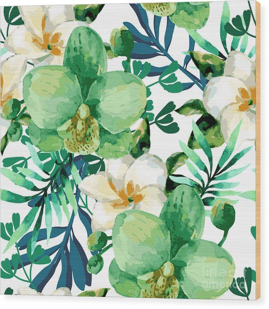 Tropical Watercolor Floral Seamless Wood Print