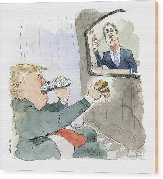 Trump Bites Remote Wood Print by Barry Blitt