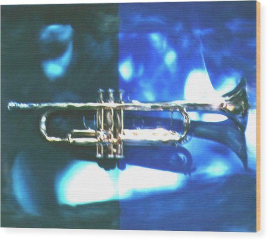 Trumpet, Blue Wood Print by Claire Rydell
