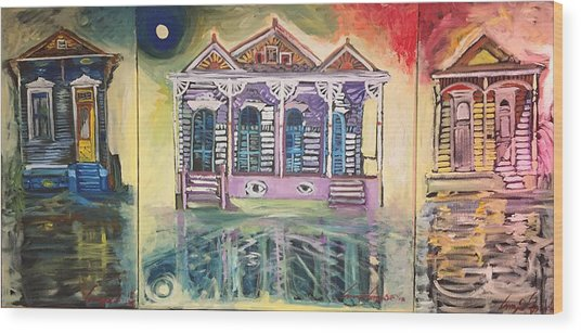Tryptic On The Bayou New Orleans Wood Print