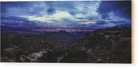 Tucson Twilight Panorama Wood Print