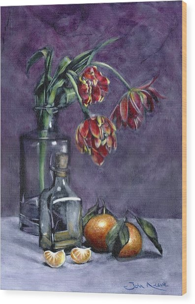 Tulips And Oranges Wood Print
