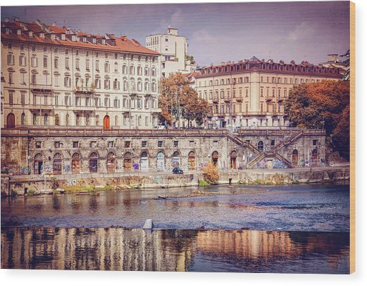 Turin Italy Reflected On The River Po Wood Print