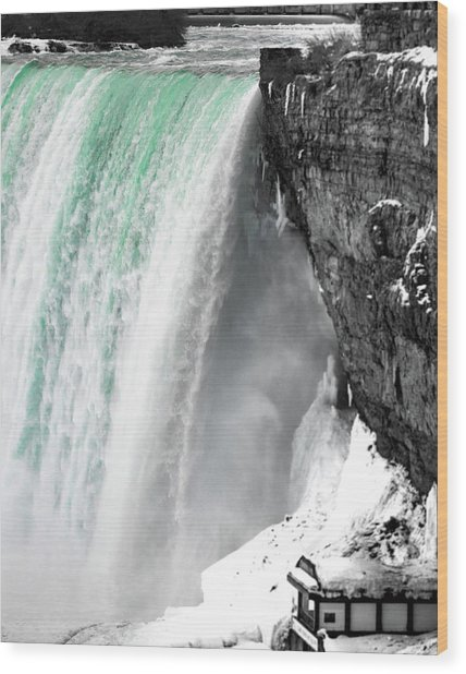 Turquoise Falls Wood Print