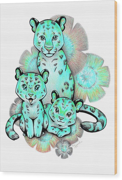 Turquoise Leopards Wood Print