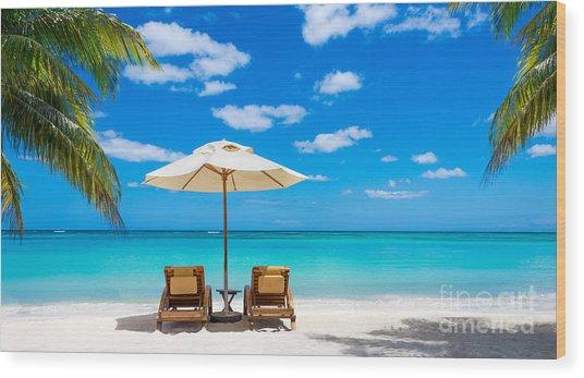 Turquoise Sea, Deckchairs, White Sand Wood Print