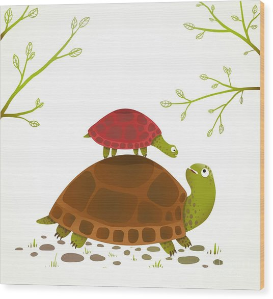 Turtle Mother And Baby Childish Animal Wood Print