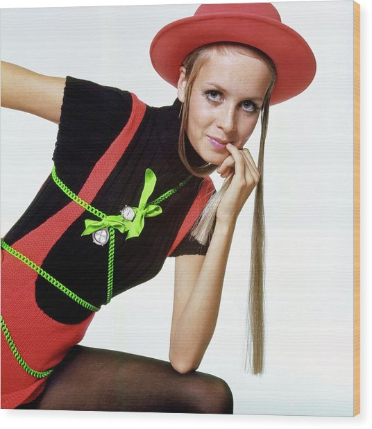 Twiggy With Piaget Watches Wood Print by Bert Stern