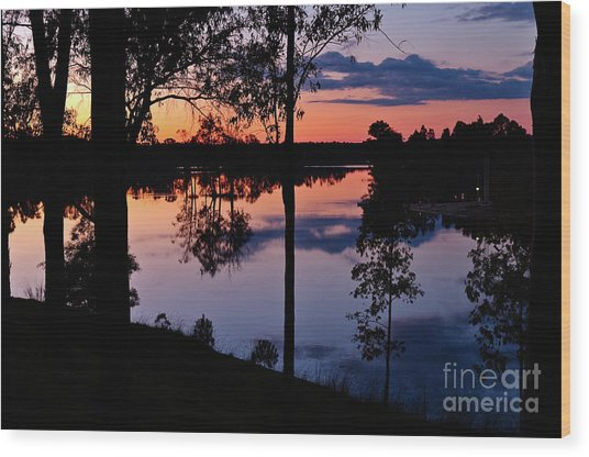 Twilight By The Lake Wood Print