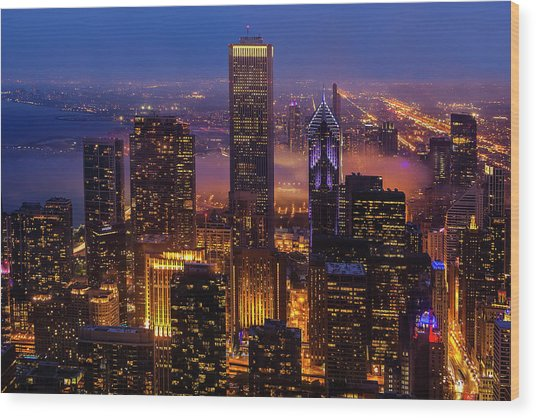 Twilight Over Chicago Wood Print