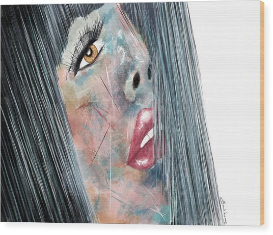 Twilight - Woman Abstract Art Wood Print