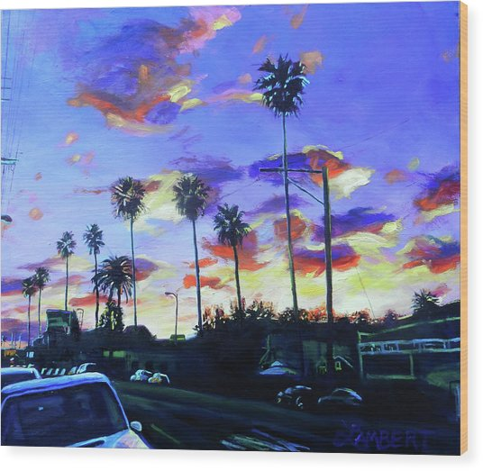 Twilight At Figueroa And 40th  Wood Print
