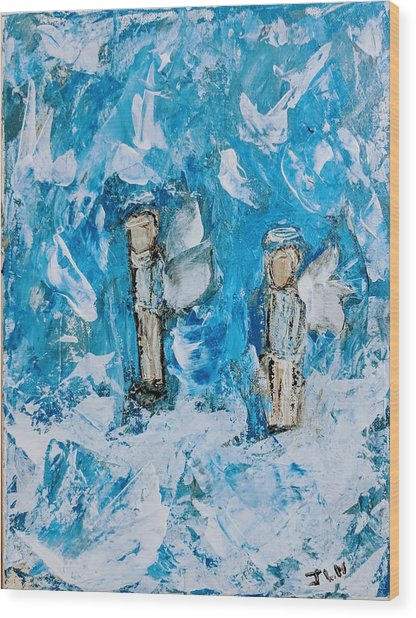 Twin Boy Angels Wood Print