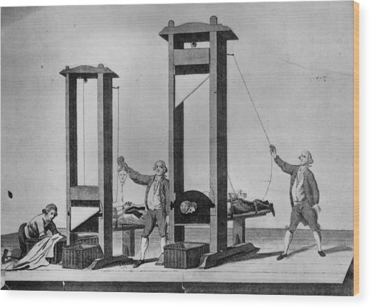 Twin Guillotines Wood Print by Hulton Archive