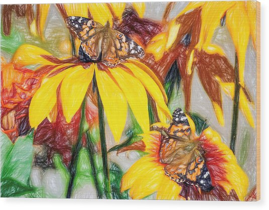 Twin Painted Lady Butterflies Pencil Wood Print
