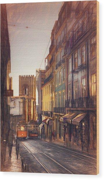 Twin Trams Of Lisbon Portugal  Wood Print