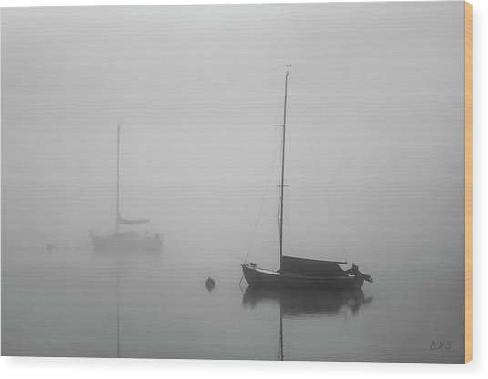 Wood Print featuring the photograph Two Boats And Fog II Bw by David Gordon