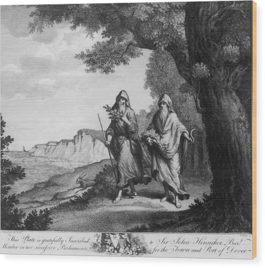 Two British Druids Wood Print by Hulton Archive