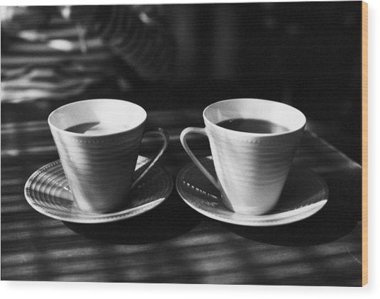 Two Cups Of Coffee In Sunlight Wood Print