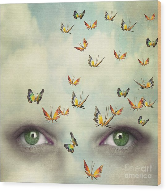 Two Eyes With The Sky And So Many Wood Print by Valentina Photos