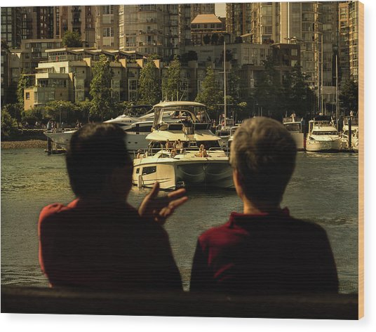 Two Friends At The Vancouver Bay Wood Print