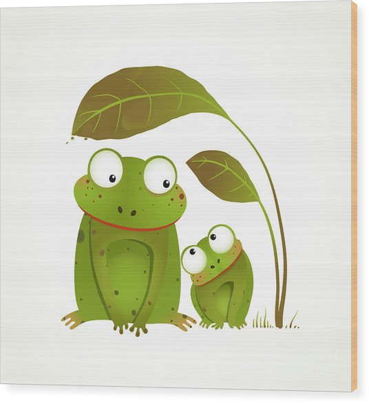 Two Frogs Mother And Baby Childish Wood Print