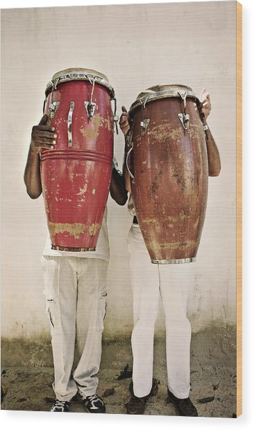 Two Men Holding Bongos In Front Of Wood Print by Holly Wilmeth
