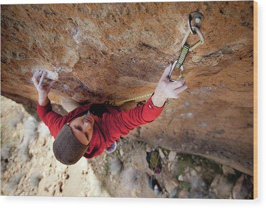 Two Men Rock Climbing Wood Print