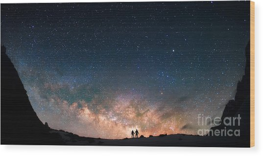 Two People Standing Together Holding Wood Print by Anton Jankovoy