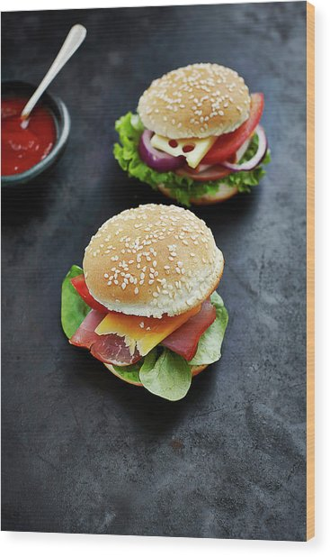 Two Prepared Burgers, Mustard And Wood Print