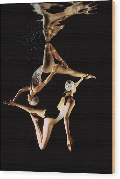 Two Synchronised Swimmers, Underwater Wood Print by Zac Macaulay