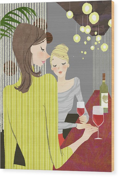 Two Woman With Wine At Bar Counter Wood Print by Eastnine Inc.