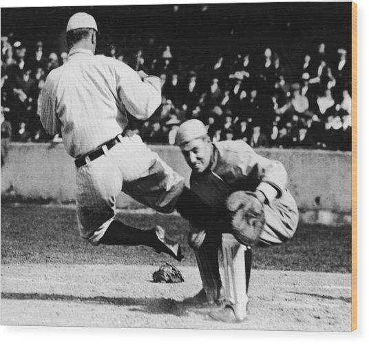 Ty Cobb Sliding Into Catcher Wood Print