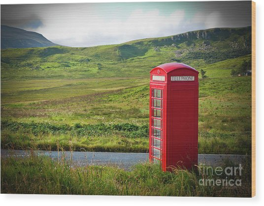Typical Red English Telephone Box In A Rural Area Near A Road. Wood Print