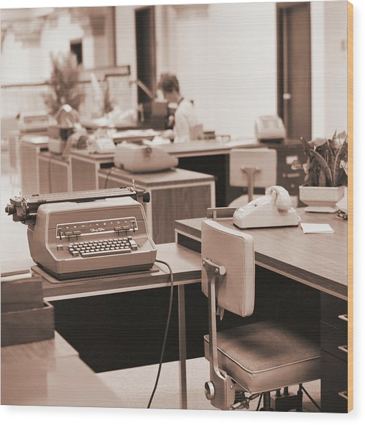 Typing Pool Workstation Wood Print by H. Armstrong Roberts