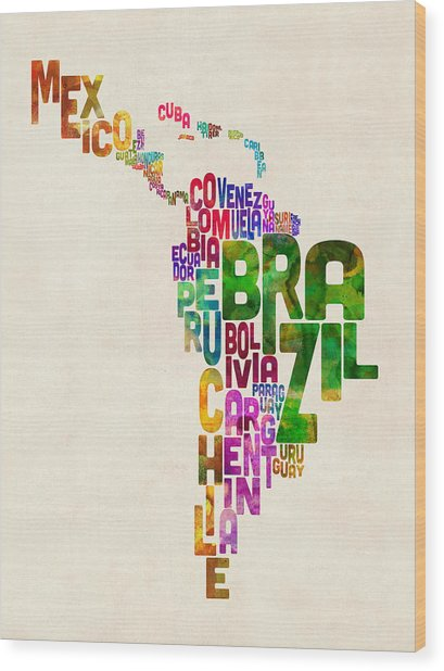 Typography Map Of Latin America, Mexico, Central And South America Wood Print
