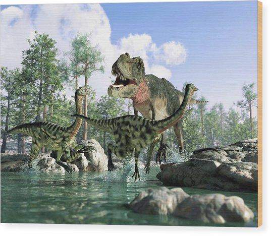 Tyrannosaurus Rex Hunting, Artwork Wood Print by Science Photo Library - Leonello Calvetti