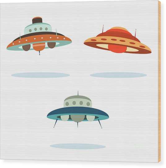 Ufo Alien Space Ships Wood Print