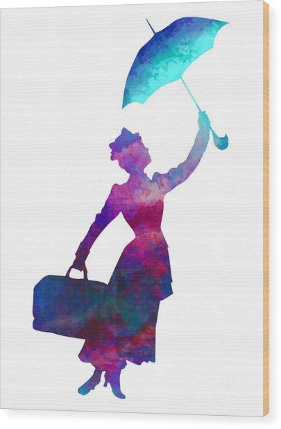 Umbrella Lady Wood Print