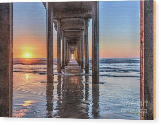 Under Scripps Pier At Sunset  ..autographed.. Wood Print