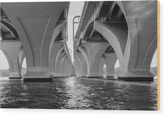 Under The Woodrow Wilson Bridge Wood Print