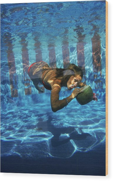 Underwater Drink Wood Print by Slim Aarons
