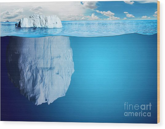 Underwater View Of Iceberg With Wood Print