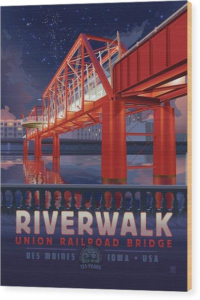 Wood Print featuring the digital art Union Railroad Bridge - Riverwalk by Clint Hansen