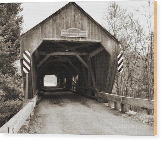 Union Village Covered Bridge Wood Print