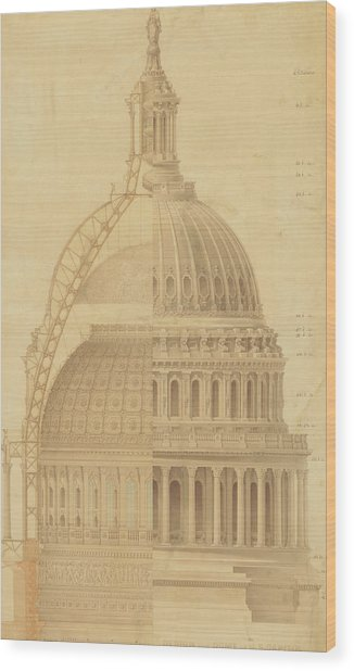 United States Capitol, Section Of Dome, 1855 Wood Print