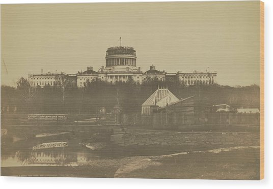 United States Capitol Under Construction Wood Print
