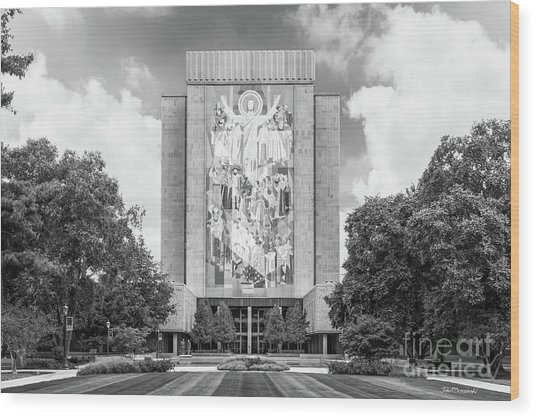 University Of Notre Dame Hesburgh Library Wood Print