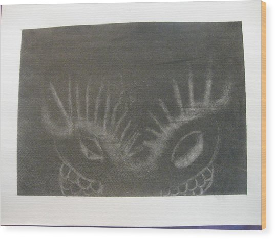 Wood Print featuring the drawing Upper Dragon Face by AJ Brown